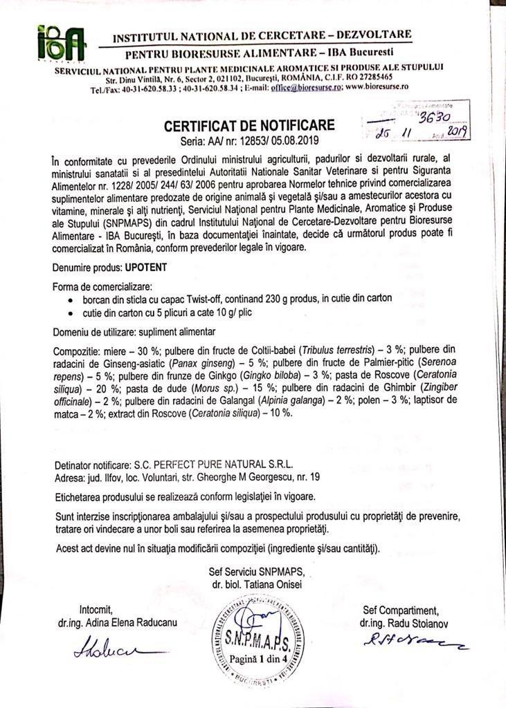 Certificat notificare uPotent